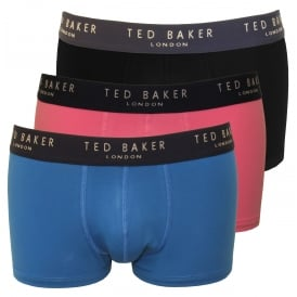 3-Pack Boxer Trunks, Blue/Pink/Black