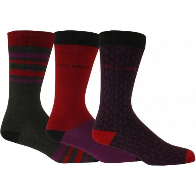 Ted Baker 3-Pack Geometric Stripe Block Gift-Set Socks, Purple/Red/Grey