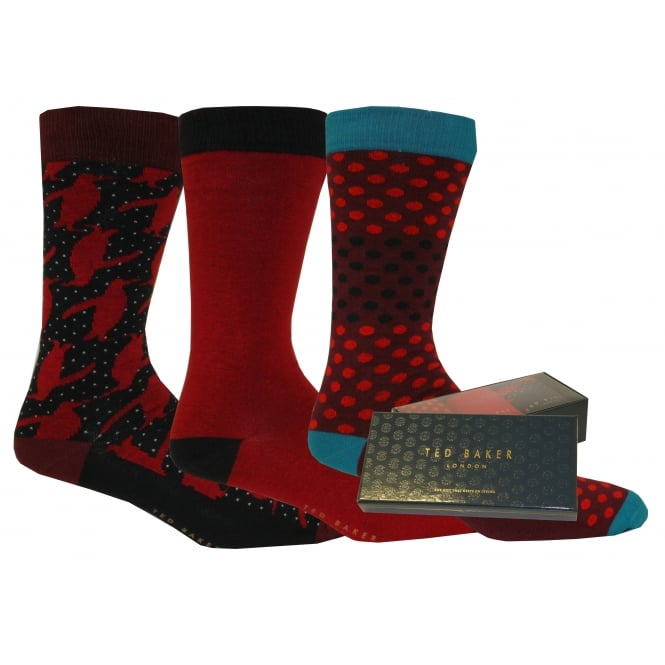 Ted Baker 3-Pack Penguins, Spots & Plain Gift-Set Socks, Red/Navy