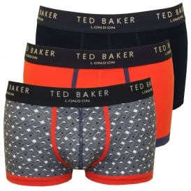 3-Pack Plain & Geo Print Boxer Trunks, Blue/Orange/Navy