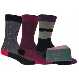 3-Pack Plain, Spot & Pin Dot Gift-Pack Socks, Navy/Purple/Grey