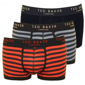 3-Pack Plain, Stripe & Stripe Boxer Trunks, Blue/Orange/Navy