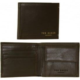 Bi-fold Coin-Pocket 'Harvys' Leather Wallet, Chocolate Brown