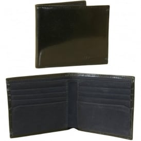 Bi-Fold Leather Wallet with blue suede inner, Black