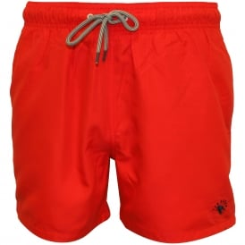 Classic Swim Shorts, Red with navy contrast
