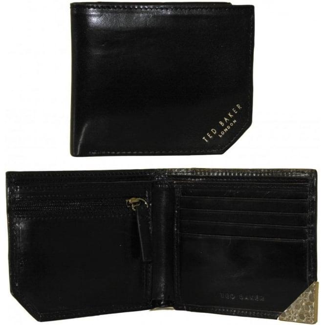 8897dd23f2f Ted Baker Corner Emboss + Zip Coin-Pocket Bi-fold Wallet, Black | UnderU