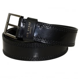 Cricket Stitch Leather Belt, Black