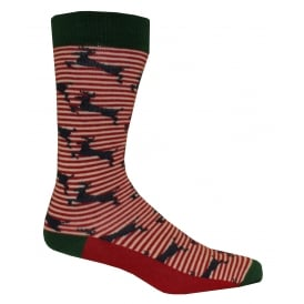 Deer Pattern Striped Socks, Navy/Red/White