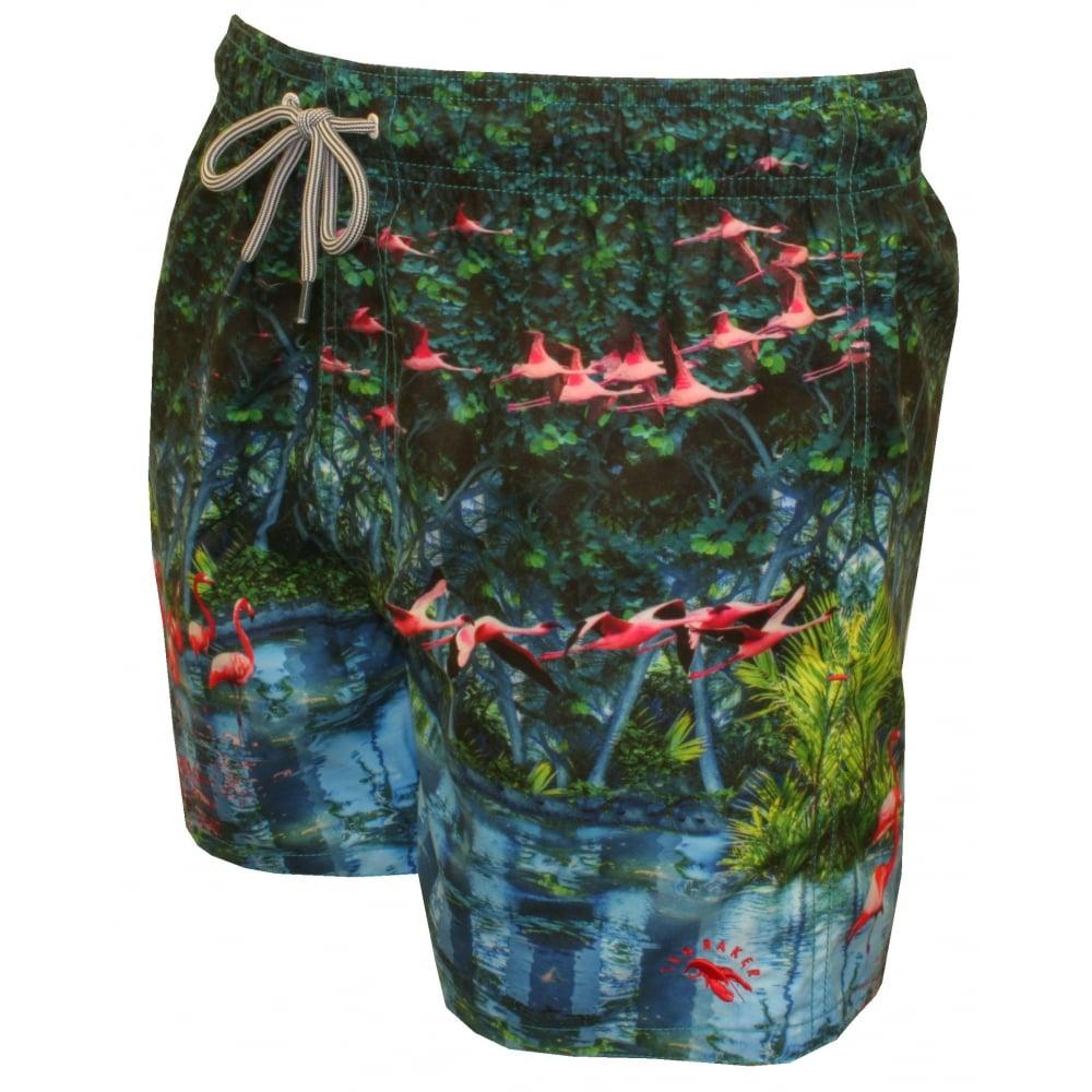 815fe768f4329e Ted Baker Flamingo Photographic Print Swim Shorts