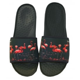 Flamingo Print Pool Slider Sandals, Navy