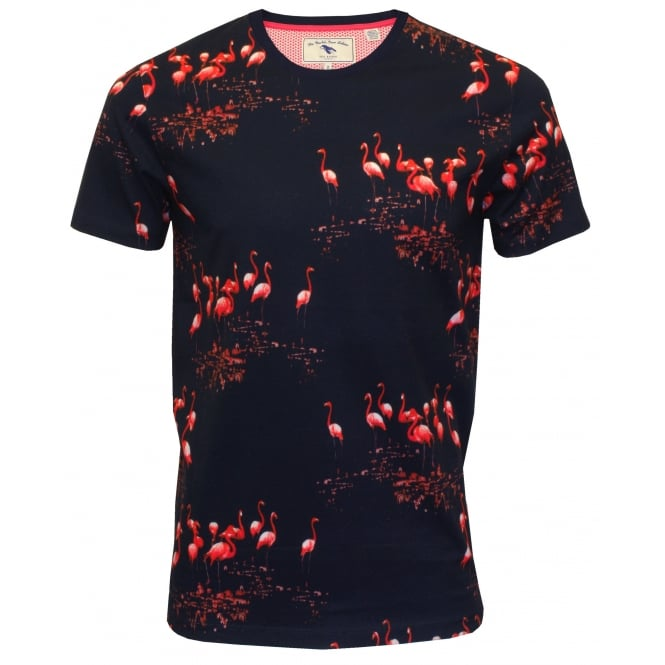 Ted Baker Flamingo Print Short-Sleeve Crew-Neck T-Shirt, Navy
