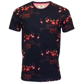 Flamingo Print Short-Sleeve Crew-Neck T-Shirt, Navy