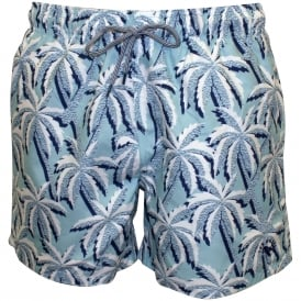Large Palms Print Swim Shorts, Light Blue