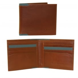 Leather Bi-Fold Wallet with Contrast Insert, Tan