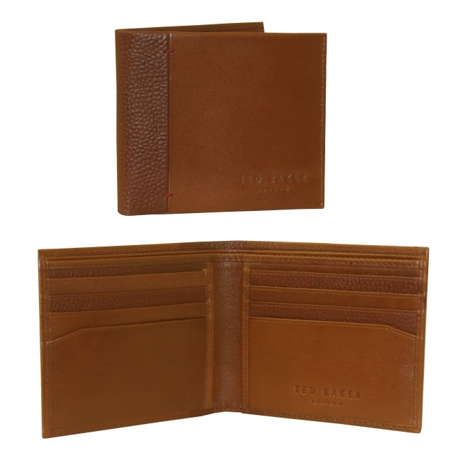 Ted Baker Leather Bi-Fold Wallet with Contrast Spine, Tan