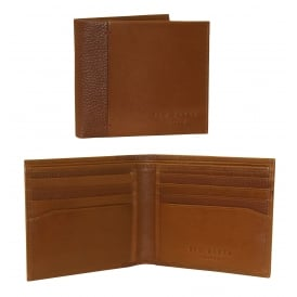Leather Bi-Fold Wallet with Contrast Spine, Tan