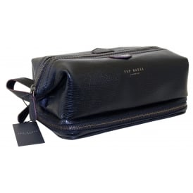 Lizard Leather Frame Washbag, Black