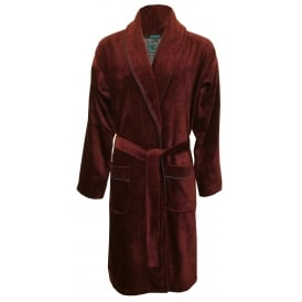 Luxury Towelling Bathrobe with Piping, Burgundy