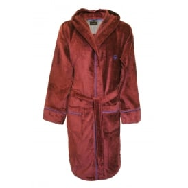 Luxury Towelling Bathrobe with Trim, Burgundy