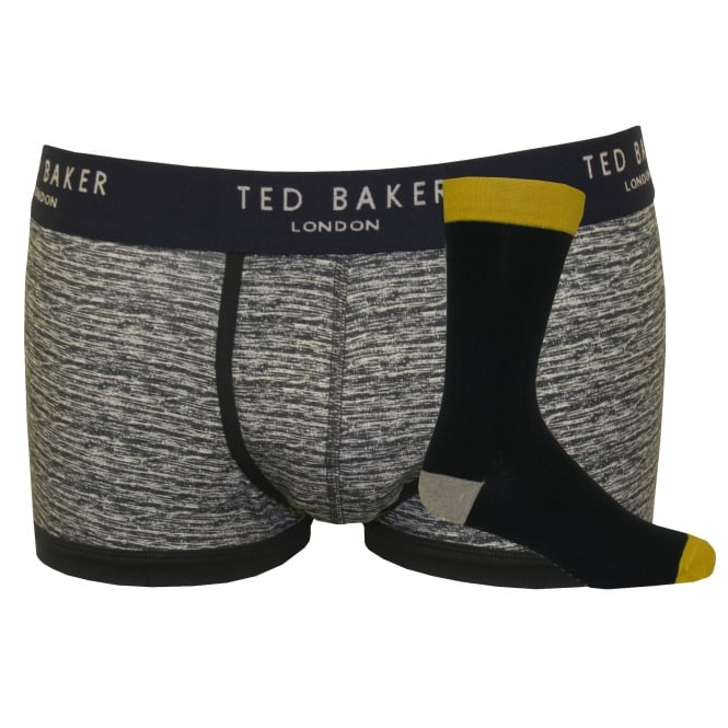 Ted Baker Marl Pattern & Fine Rib Socks & Boxer Trunk Gift Set, Grey/Black