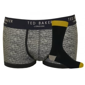 Marl Pattern & Fine Rib Socks & Boxer Trunk Gift Set, Grey/Black