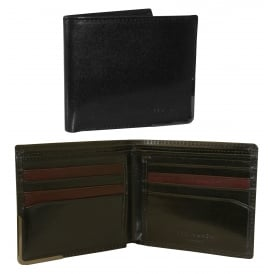 Metal Corner Bi-fold Leather Wallet, Black