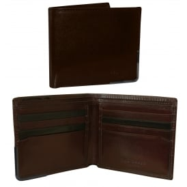 Metal Corner Bi-fold Leather Wallet, Chocolate