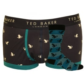 Monkeys Socks & Boxer Trunk Gift Set, Navy/blue
