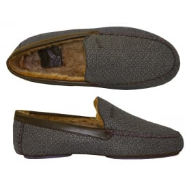 Moriss Geo Print Moccasin Slippers, Dark Grey