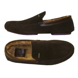 Moriss Suede Moccasin Slippers, Brown