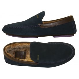 Moriss Suede Moccasin Slippers, Dark Blue