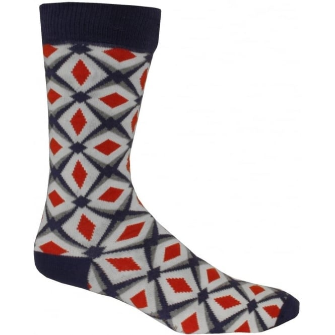 Ted Baker Organic Geometric Diamonds Design Socks, Orange/Navy