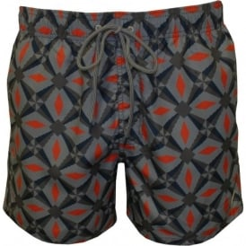 Oversized Geo Print Swim Shorts, Navy/Orange