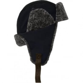'Patanne' Microfibre Trappa Hat with Faux Fur, Navy