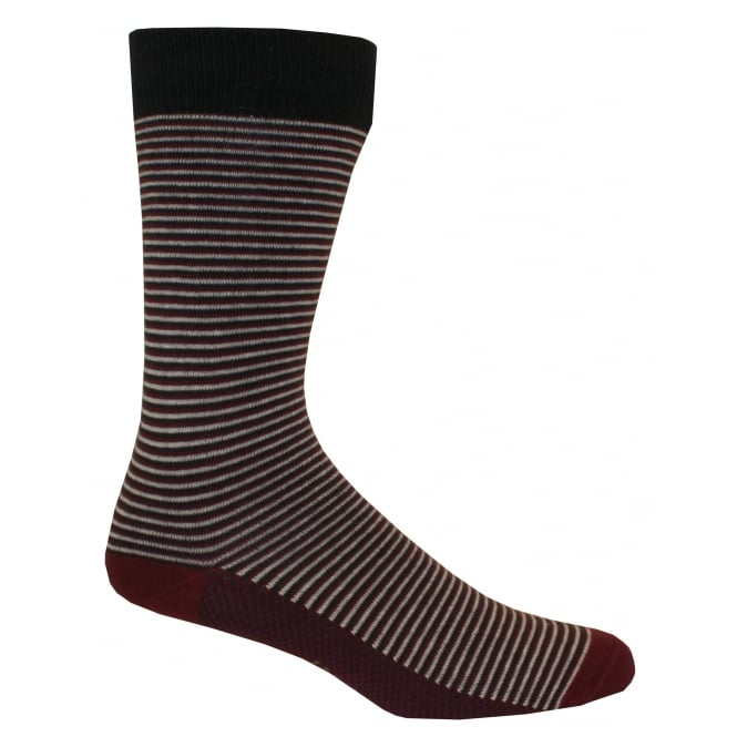 Ted Baker Regular Striped Socks, Burgundy/Grey