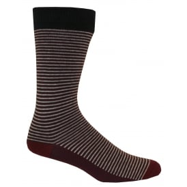 Regular Striped Socks, Burgundy/Grey