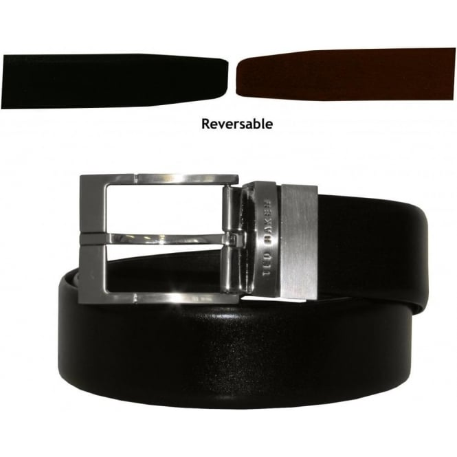 Ted Baker Reversible Prong Leather Smart Belt, Black & Brown