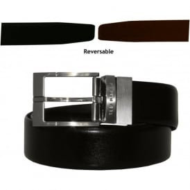 Reversible Prong Leather Smart Belt, Black & Brown