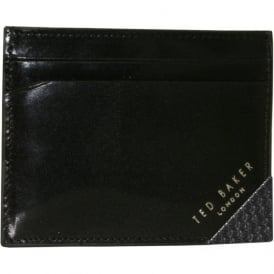 'Righted' Metal Corner Leather Card-Holder, Black
