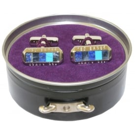 Semi-precious Stones and Shell Cufflinks, Blue