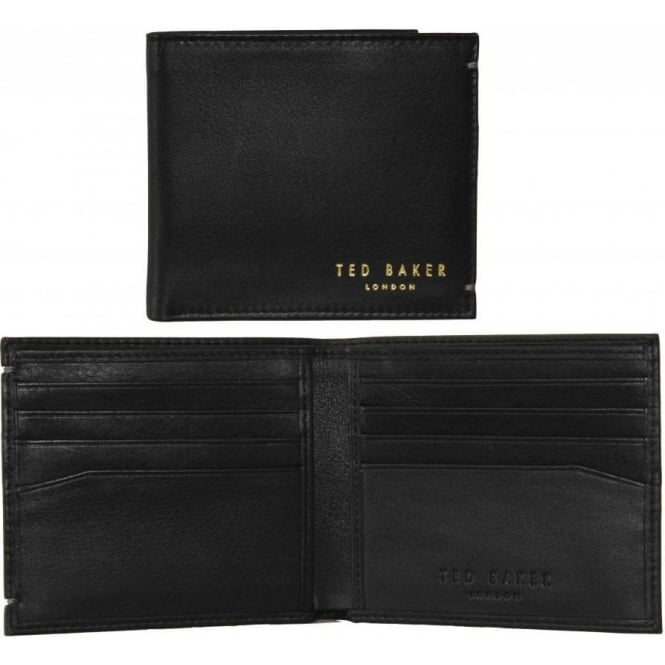 Ted Baker Small Bi-fold 'Anthonys' Leather Card Wallet, Black