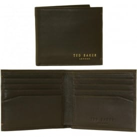 Small Bi-fold Leather Card Wallet, Dark Brown