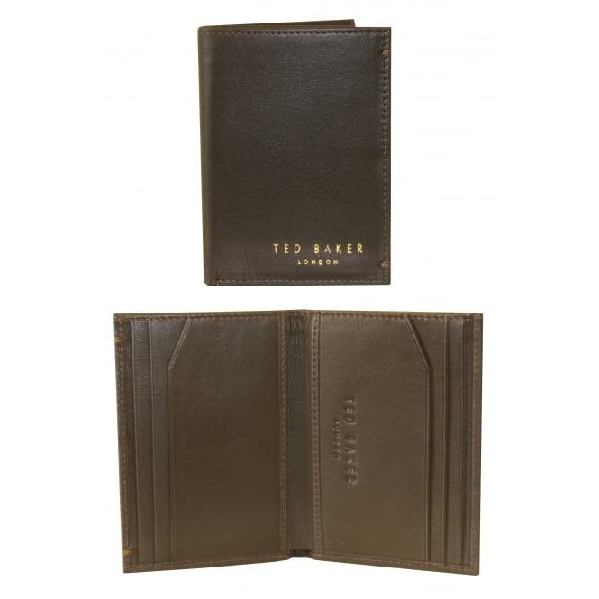 Ted Baker Small Bi-fold 'Zacks' Leather Card Wallet, Dark Brown
