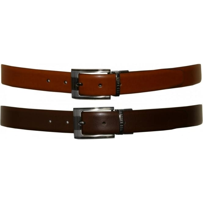Ted Baker Smart Leather Reversible Belt, Tan / Chocolate