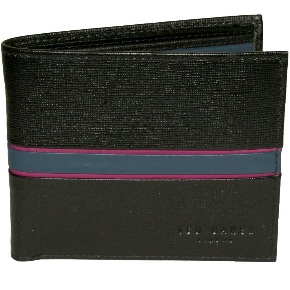 bc669a52d3 Ted Baker Stripe Leather Bi-fold Wallet, Black   UnderU