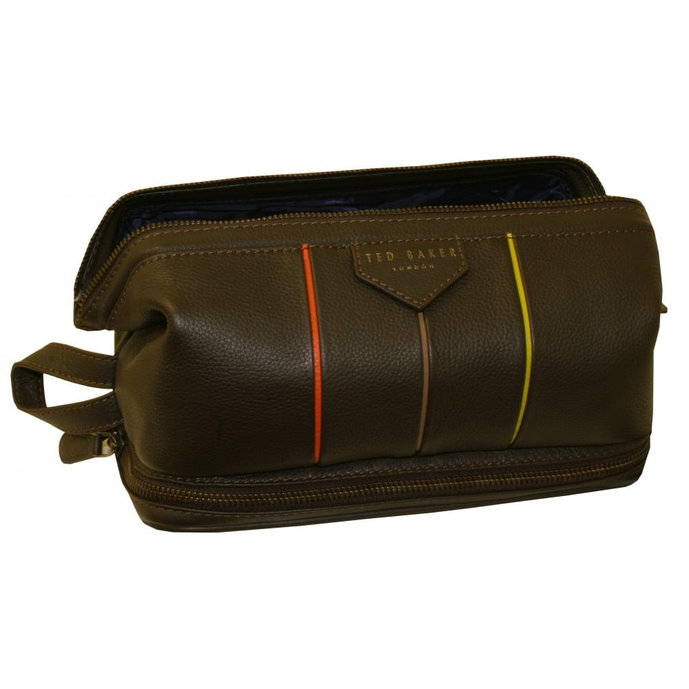 b1349522c Ted Baker Striped Detail Leather Frame Washbag