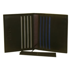 Striped Piping Leather Bi-Fold Cardholder, Black