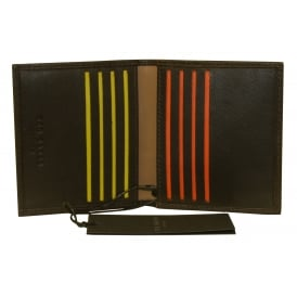 Striped Piping Leather Bi-Fold Cardholder, Chocolate