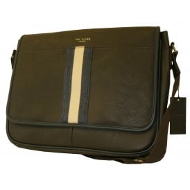 Striped Webbing Messenger Bag, Chocolate