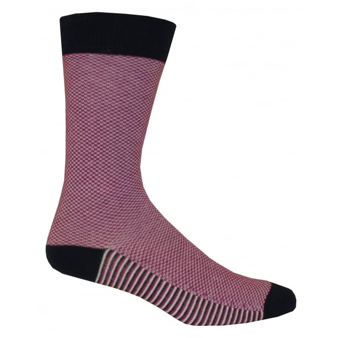 Ted Baker Textured Print Organic Cotton Socks, Pink/Navy